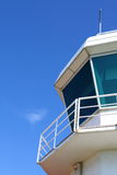 Aerodrome control tower. Part of aerodrome control tower against clear sky, with copy space Stock Image