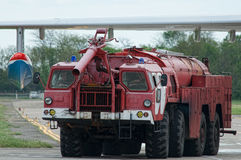 Aerodrome fire truck, Taganrog. Russia, May 16, 2015. Aviation plant, This machine runs on the ground with water seaplanes royalty free stock photos