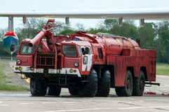 Aerodrome fire truck, Taganrog, Russia, May 16, 2015. Aviation plant, This machine runs on the ground with water seaplanes Stock Image