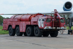 Aerodrome fire truck, Taganrog, Russia, May 16, 2015. Aviation plant, This machine runs on the ground with water seaplanes Stock Photography