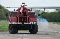 Aerodrome fire truck. Taganrog, Russia, May 16, 2015. Aviation plant, This machine runs on the ground with water seaplanes royalty free stock image