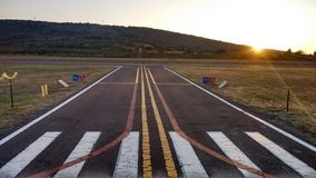 Aerodrome. Sunset at the aerodrome stock images