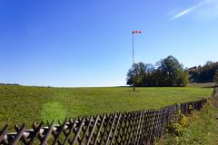 Aerodrome wind vane. On sunny autumn day in south germany stock photos