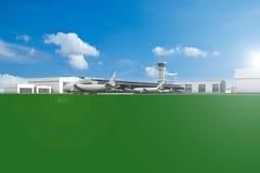 Aerodromo con gli aerei ed il cielo blu Immagine Stock