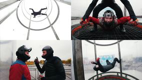 4 in 1 - aerodynamic tube. flying in tube experience. Collage stock footage