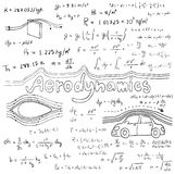 Aerodynamics law theory and physics mathematical formula. Equation, doodle handwriting icon in white  background with handdrawn model, create by vector Stock Photos