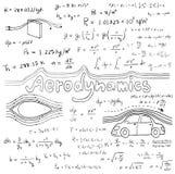 Aerodynamiklagteori och matematisk formel för fysik Arkivfoton
