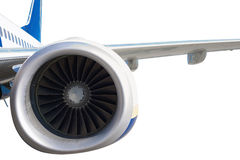 Aeroengine on white. Close up of turbojet's aero-engine isolated on white background. Clipping path included Stock Image