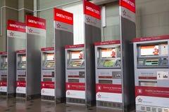 Aeroexpress etikettiert Kiosk Aeroexpress Ltd. ist der Betreiber von Luft-Bahnnetzservicen in Moskau, Russland Stockfotos