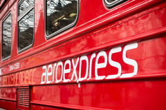 Aeroexpress logo on the train at Kievskiy station Stock Images