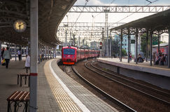 Aeroexpress from the platform at the Belarusian railway station Royalty Free Stock Images