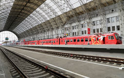 Aeroexpress red Train on Kiyevskaya railway station  (Kiyevsky railway terminal,  Kievskiy vokzal), Moscow, Russia Stock Image