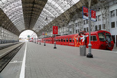Aeroexpress red Train on Kiyevskaya railway station  (Kiyevsky railway terminal,  Kievskiy vokzal), Moscow, Russia Stock Images