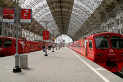 Aeroexpress red Train on Kiyevskaya railway station  (Kiyevsky railway terminal,  Kievskiy vokzal) -- Moscow, Russia Stock Images