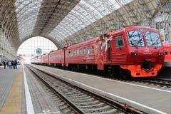 Aeroexpress red Train on Kiyevskaya railway station  (Kiyevsky railway terminal,  Kievskiy vokzal) -- Moscow, Russia Stock Photography