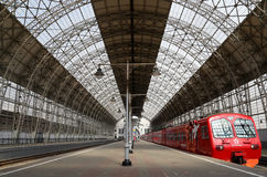 Aeroexpress red Train on Kiyevskaya railway station  (Kiyevsky railway terminal,  Kievskiy vokzal) -- Moscow, Russia Stock Image