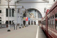 Aeroexpress red Train on Kiyevskaya railway station  (Kiyevsky railway terminal,  Kievskiy vokzal) -- Moscow, Russia Royalty Free Stock Images