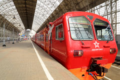 Aeroexpress red Train on Kiyevskaya railway station  (Kiyevsky railway terminal,  Kievskiy vokzal) -- Moscow, Russia Stock Photo