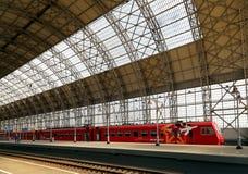Aeroexpress red Train on Kiyevskaya railway station  (Kiyevsky railway terminal,  Kievskiy vokzal) -- Moscow, Russia Royalty Free Stock Photos