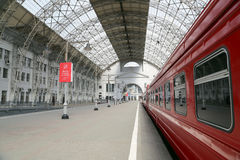 Aeroexpress red Train on Kiyevskaya railway station  (Kiyevsky railway terminal,  Kievskiy vokzal) -- Moscow, Russia Royalty Free Stock Photo