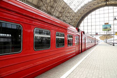 Aeroexpress red Train on Kiyevskaya railway station  (Kiyevsky railway terminal,  Kievskiy vokzal) -- Moscow, Russia Stock Photos