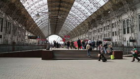 Aeroexpress red Train on Kiyevskaya railway station  (Kiyevsky railway terminal,Kievskiy vokzal) stock footage