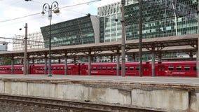 Aeroexpress red Train on Kiyevskaya railway station  (Kiyevsky railway terminal,Kievskiy vokzal) stock video footage