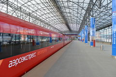 Aeroexpress red train Stock Image