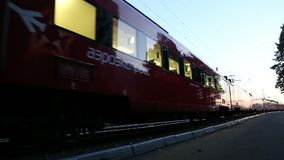 Aeroexpress train at the Belorussky railway station. Moscow, Russia. High-speed train acquired OAO `Russian Railways` for use on the Russian high-speed stock footage