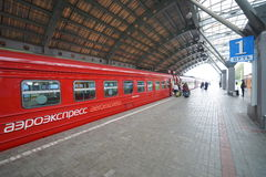 Aeroexpress Train in Moscow Domodedovo Airport Stock Images