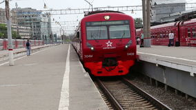 Aeroexpress Train at the Paveletsky railway station and passengers. Moscow, Russia. High-speed train acquired OAO Russian Railways for use on the Russian stock footage