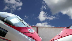 Aeroexpress Train Sapsan against the sky-- high-speed train acquired OAO `Russian Railways` stock video footage