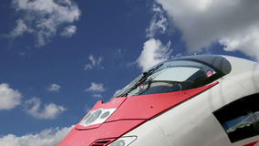Aeroexpress Train Sapsan against the sky-- high-speed train acquired OAO `Russian Railways` stock footage