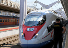 Aeroexpress Train Sapsan at the Leningrad station. Moscow, Russia Stock Images