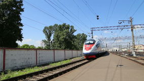 Aeroexpress Train Sapsan at the Leningradsky railway station and passenger stock footage