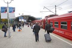 Aeroexpress-Zug in Flughafen Moskaus Domodedovo Lizenzfreies Stockfoto