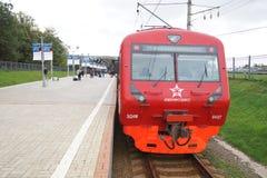 Aeroexpress-Zug in Flughafen Moskaus Domodedovo Lizenzfreies Stockbild