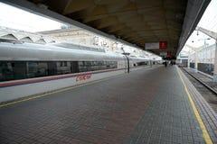 Aeroexpress-Zug Sapsan an der Leningrad-Station Moskau Lizenzfreie Stockbilder