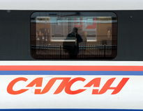 Aeroexpress-Zug Sapsan an der Leningrad-Station Moskau Stockfotografie