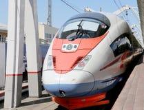 Aeroexpress-Zug Sapsan an der Leningrad-Station Moskau, Russland Lizenzfreies Stockbild