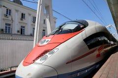 Aeroexpress-Zug Sapsan an der Leningrad-Station Moskau, Russland Stockfoto