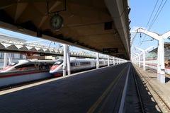 Aeroexpress-Zug Sapsan an der Leningrad-Station Moskau, Russland Lizenzfreies Stockfoto