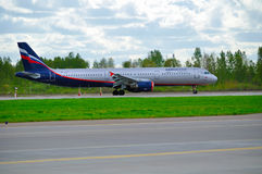 Aeroflot Airbus A321 airplane is riding on the runway after arrival at Pulkovo International airport in Saint-Petersburg, Russia Royalty Free Stock Photos
