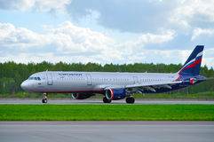 Aeroflot Airbus A321 airplane is riding on the runway after arrival at Pulkovo International airport in Saint-Petersburg, Russia Royalty Free Stock Photo
