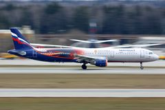 Aeroflot Airbus A321 in Manchester United special livery taking off at Sheremetyevo international airport. stock photos