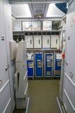Aeroflot Airbus A320. MOSCOW, RUSSIA - CIRCA JULY, 2018: interior shot of Aeroflot Airbus A320 stock photos