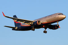 Aeroflot Airbus A320 VQ-BRV with sharklets landing at Sheremetyevo international airport. SHEREMETYEVO, MOSCOW REGION, RUSSIA - JULY 13, 2015: Aeroflot Airbus Stock Photo