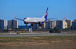 Aeroflot Airlines Landing At Alicante Airport Stock Images