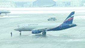 Aeroflot airplane in the airport stock footage