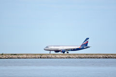 Aeroflot airplane at Nice-Cote Azur airport Stock Photography